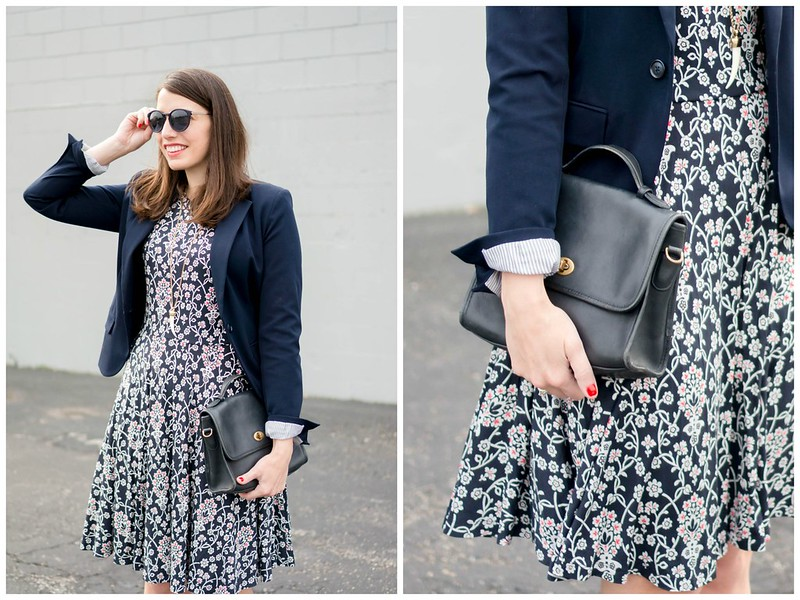 loft floral print dress + navy Target blazer + navy coach purse + navy block heels; spring work outfit Style On Target blog