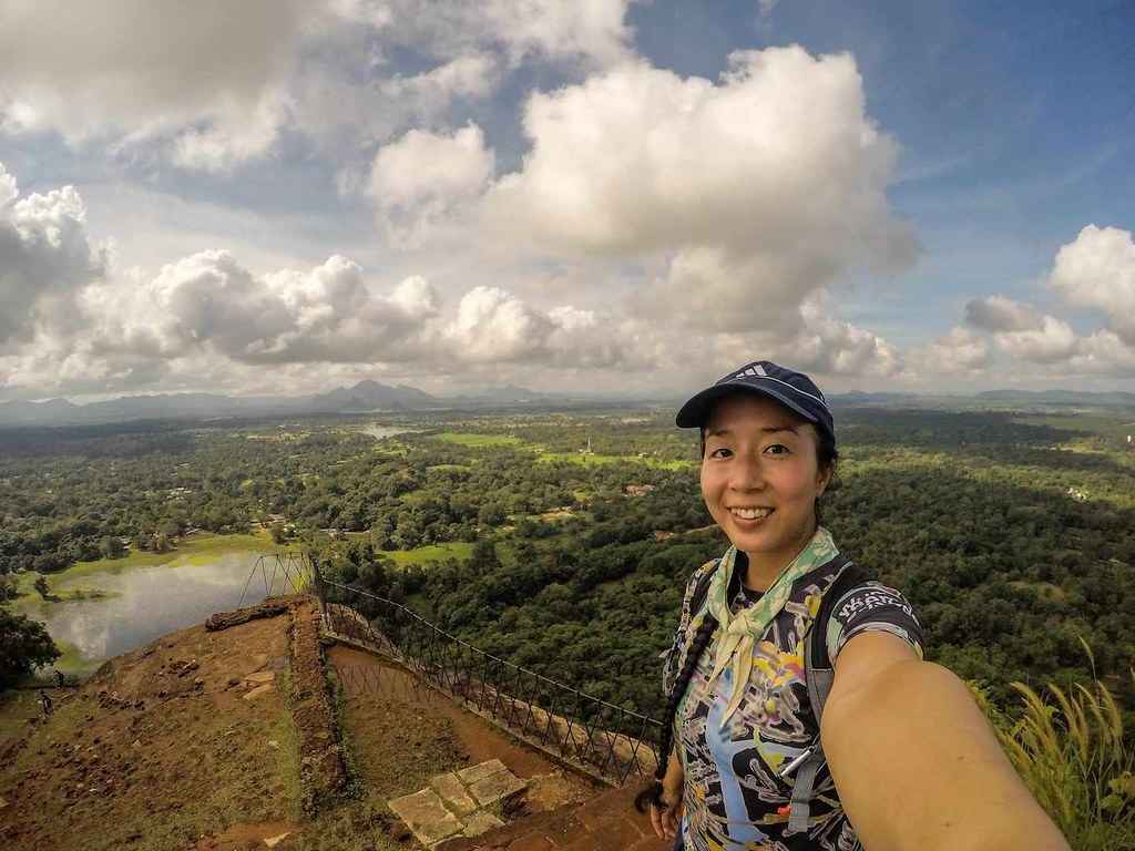 At the top of Lion Rock Fortress in Sigiriya Sri Lanka