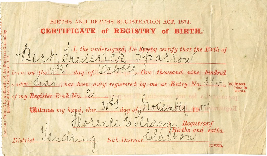 Birth Certificate Of Bert Frederick Sparrow 1906 Tendrin Flickr