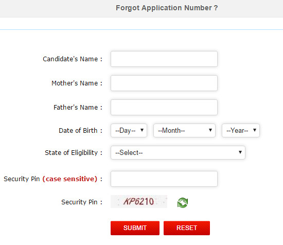 Forgot JEE Main Application form Number