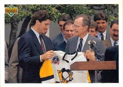 George Bush 1991 Pittsburgh Penguins Mario Lemieux