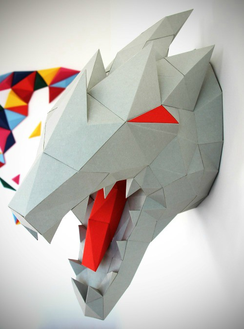 Paper Dragon Head Low Poly Model