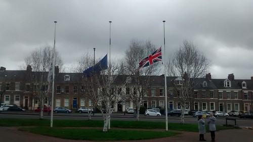 flags at half mast Gateshead Mar 17