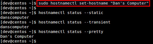 how to know hostname in centos