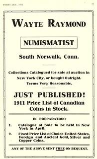 Wayte Raymond Numismatist ad 1911 Feb, 77
