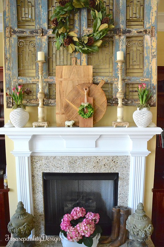 Mantel-Pink Calla Lillies-Hydrangea-Antique Shutters-Housepitality Designs