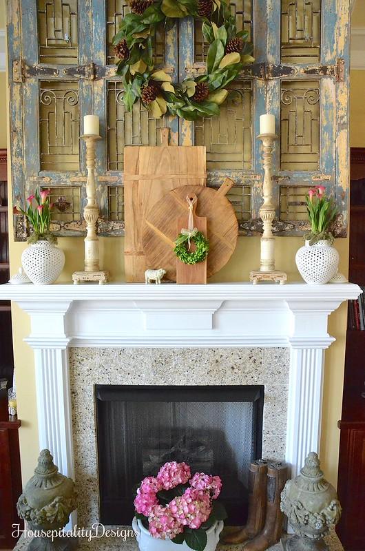 Mantel-Pink Calla Lillies-Hydrangea-Antique Shutters-Housepitality Designs
