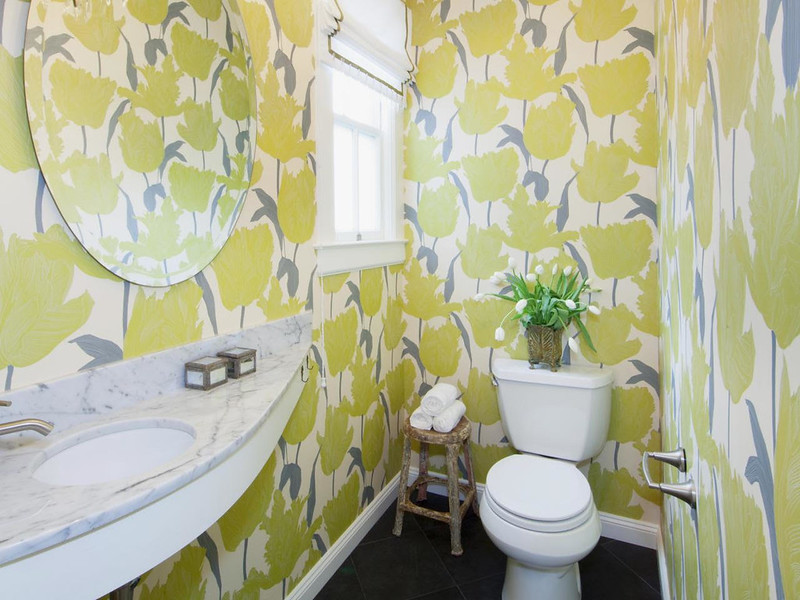 Yellow Flower Wallpaper in Bathroom