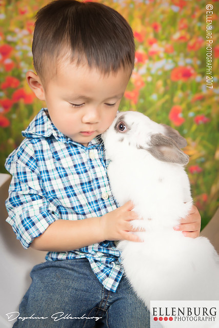 Boy with Bunny whispering secret