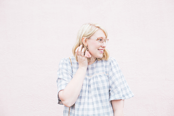 austin fashion blog gingham bell sleeves and blush14