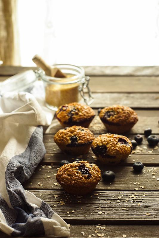 Muffins de avena y arándanos