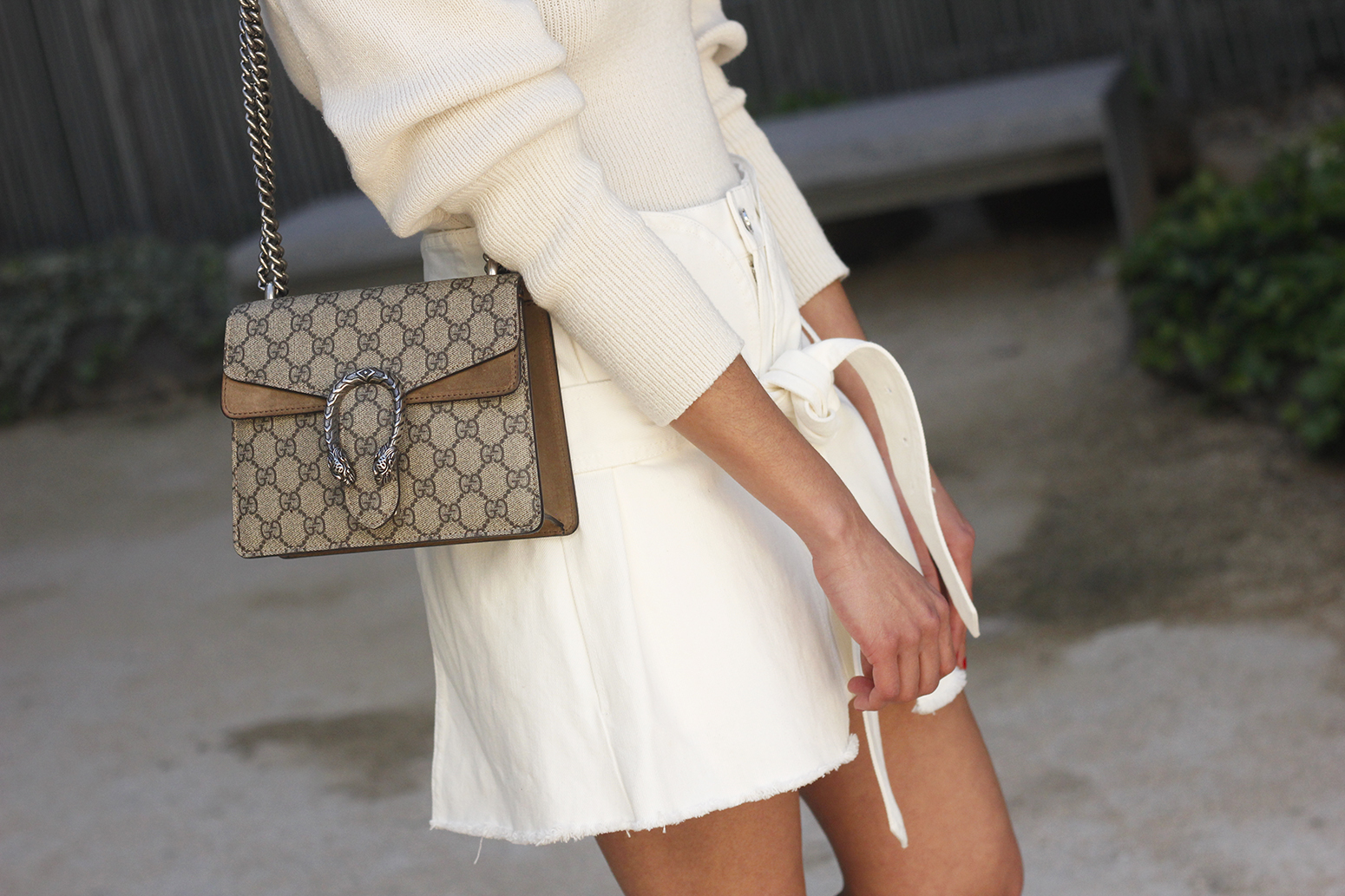 White skirt white sweater blue light mules uterqüe gucci bag céline sunnies spring outfit style outfit13