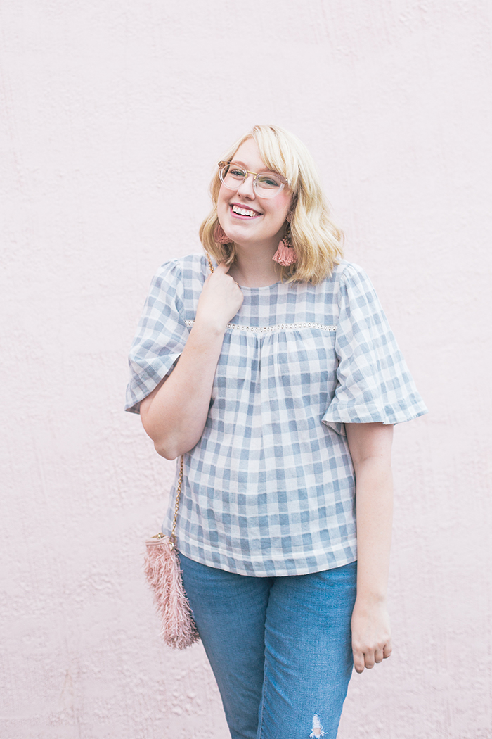 austin fashion blog gingham bell sleeves and blush6