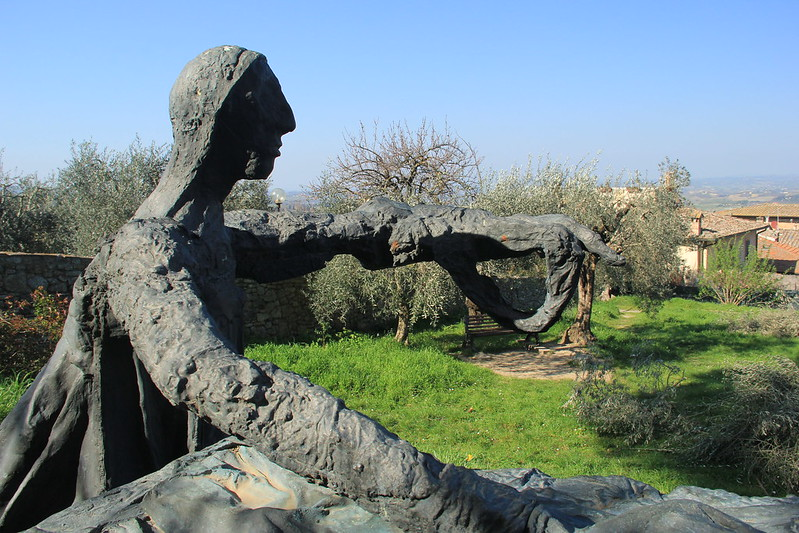Unusual sculpture near San Gimignano's fortress