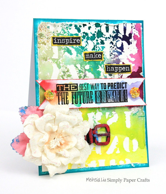 Meihsia Liu Simply Paper Crafts Mixed Media Card Rainbow Simon Says Stamp Tim Holtz