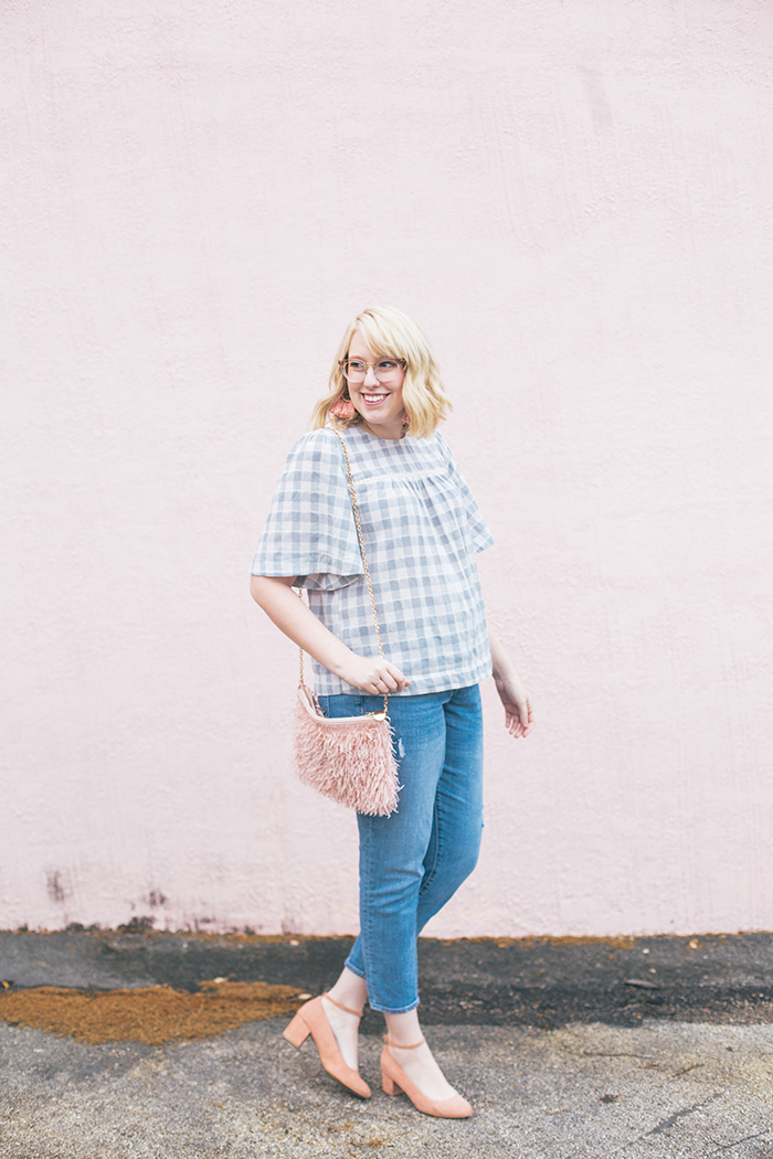 austin fashion blog gingham bell sleeves and blush3