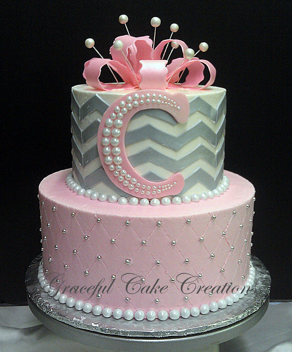 ... Pink And Gray Chevron Baby Shower Cake | By Graceful Cake Creations