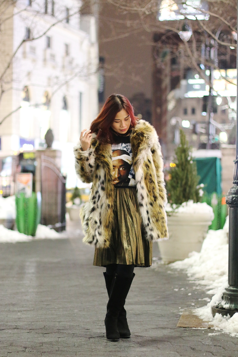 Tupac-shirt-leopard-coat-gold-pleated-skirt-5