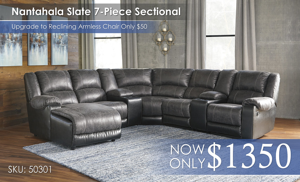 Nantahala Slate 7PC Sectional 50301-16-57-46-77-19-57-41-CLSD