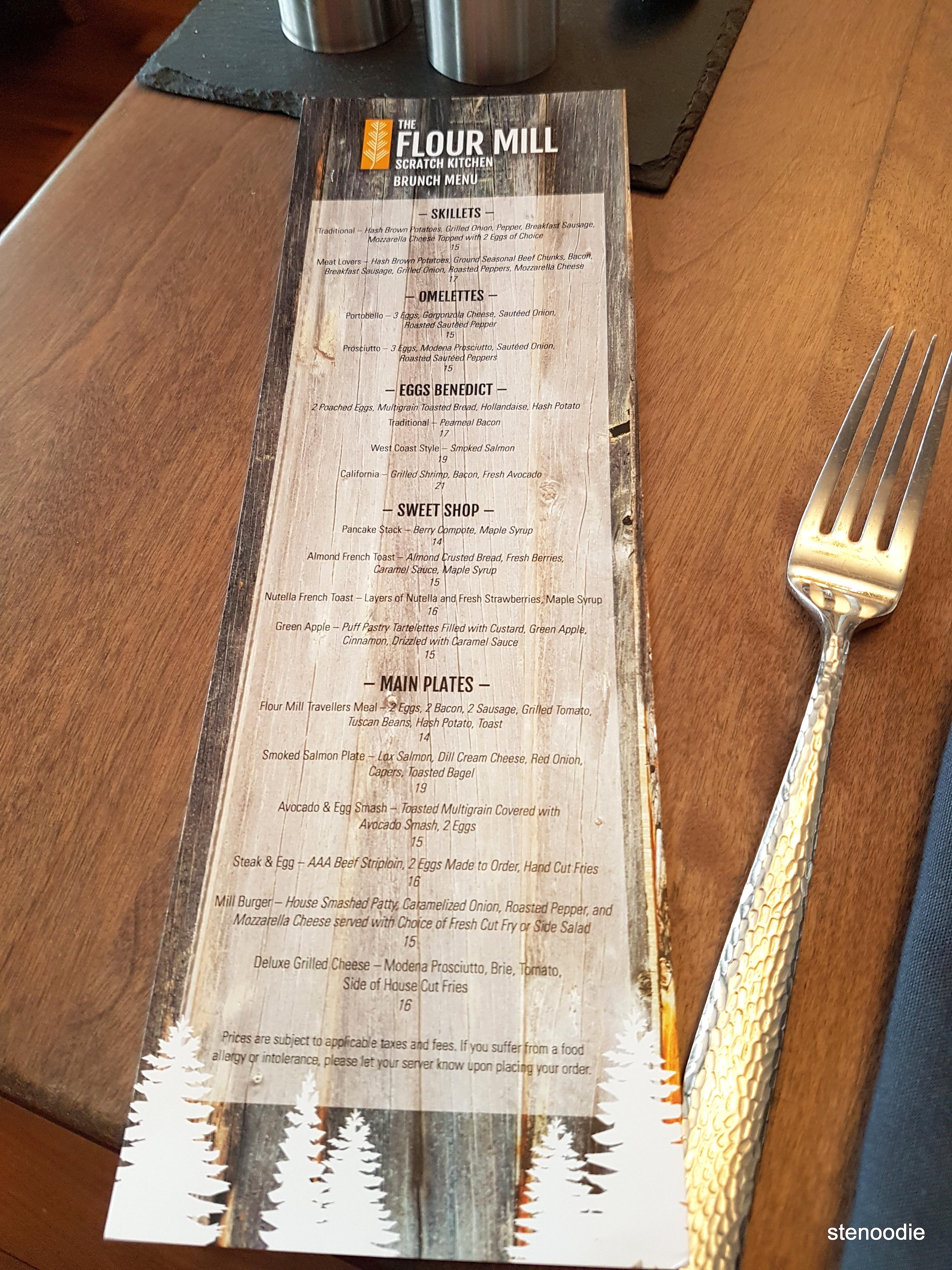 Brunch menu at The Flour Mill Restaurant