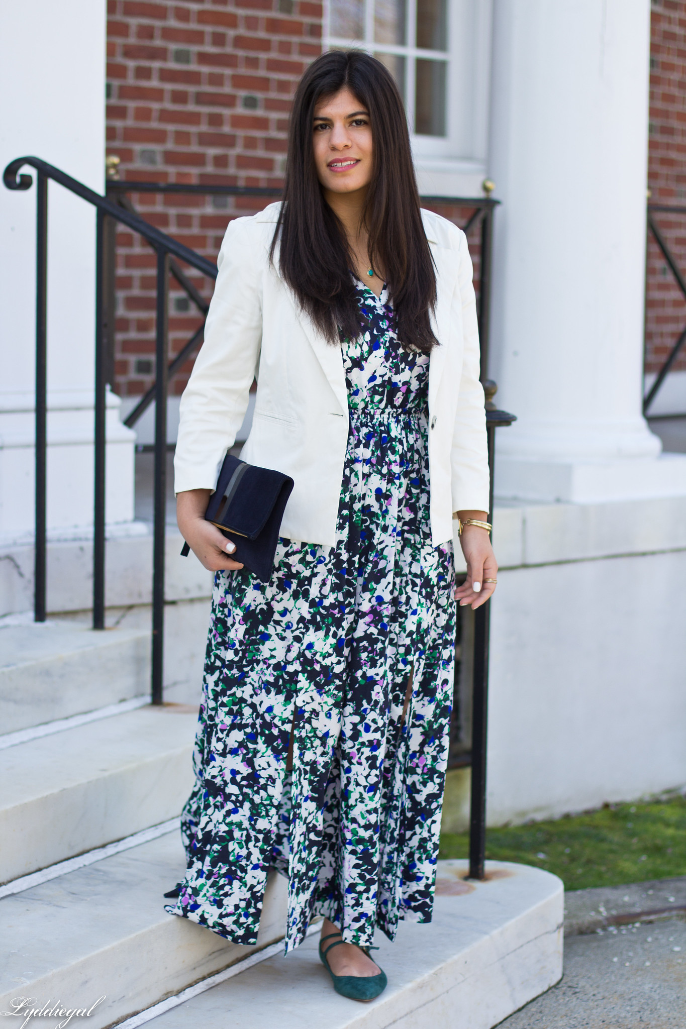 floral maxi dress, white blazer, green flats, clare v clutch-6.jpg
