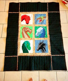 The dragon quilt is done! This one is for my brother.  Thank you Michelle Thompson for the awesome patterns.😃