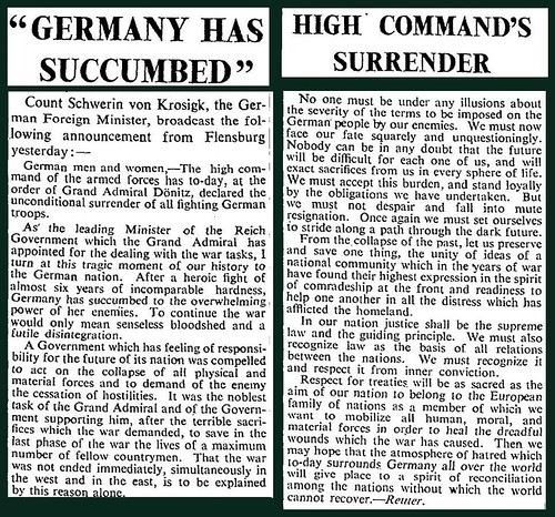 7th May 1945 - Germany surrenders | by Bradford Timeline