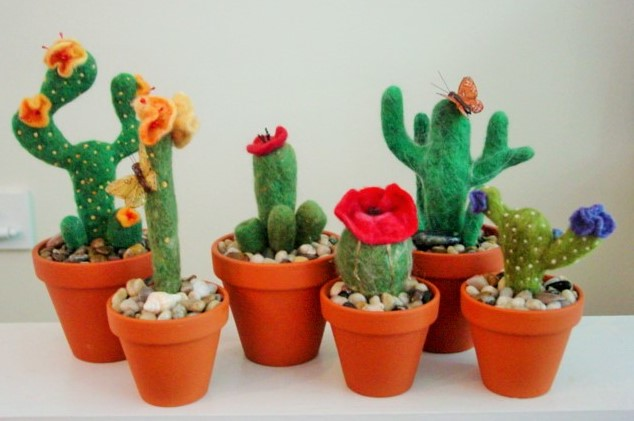 ... Needle Felted Cacti Garden | By MysticMosaics