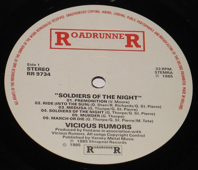 "Vicious Rumors Soldiers of the Night 12"" Vinyl LP"