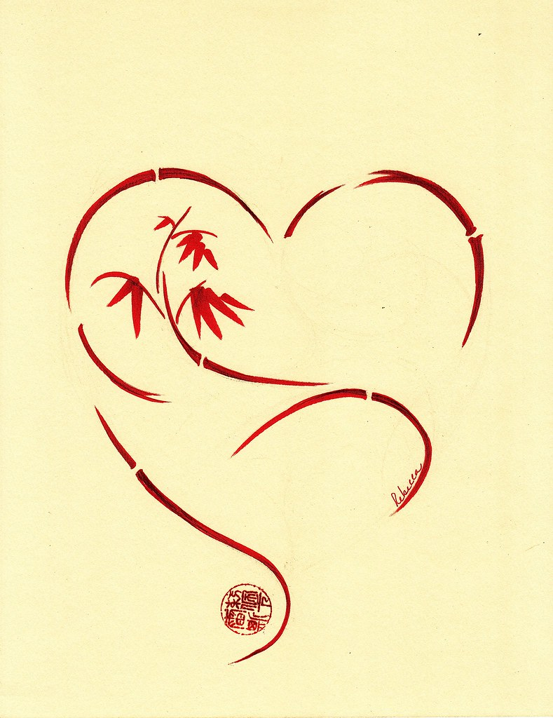 Forever Yours Original Enso Sumi E Heart Bamboo Painting Flickr