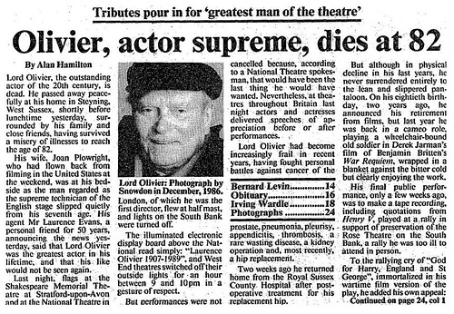 11th July 1989 - Death of Laurence Olivier | by Bradford Timeline