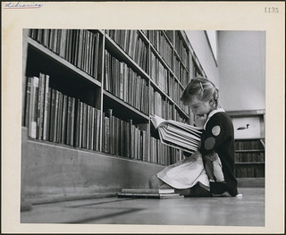 young girl reading a book central circulating library at flickr. Black Bedroom Furniture Sets. Home Design Ideas