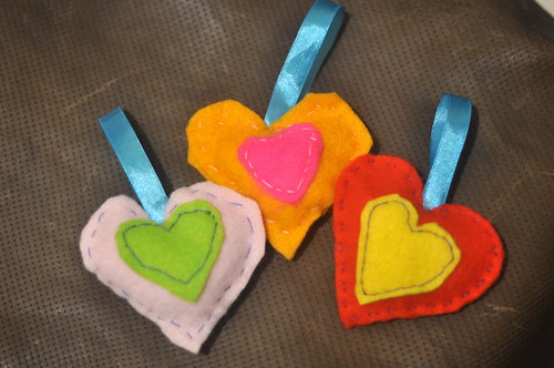Marguerite's Stuffed Felt Hearts