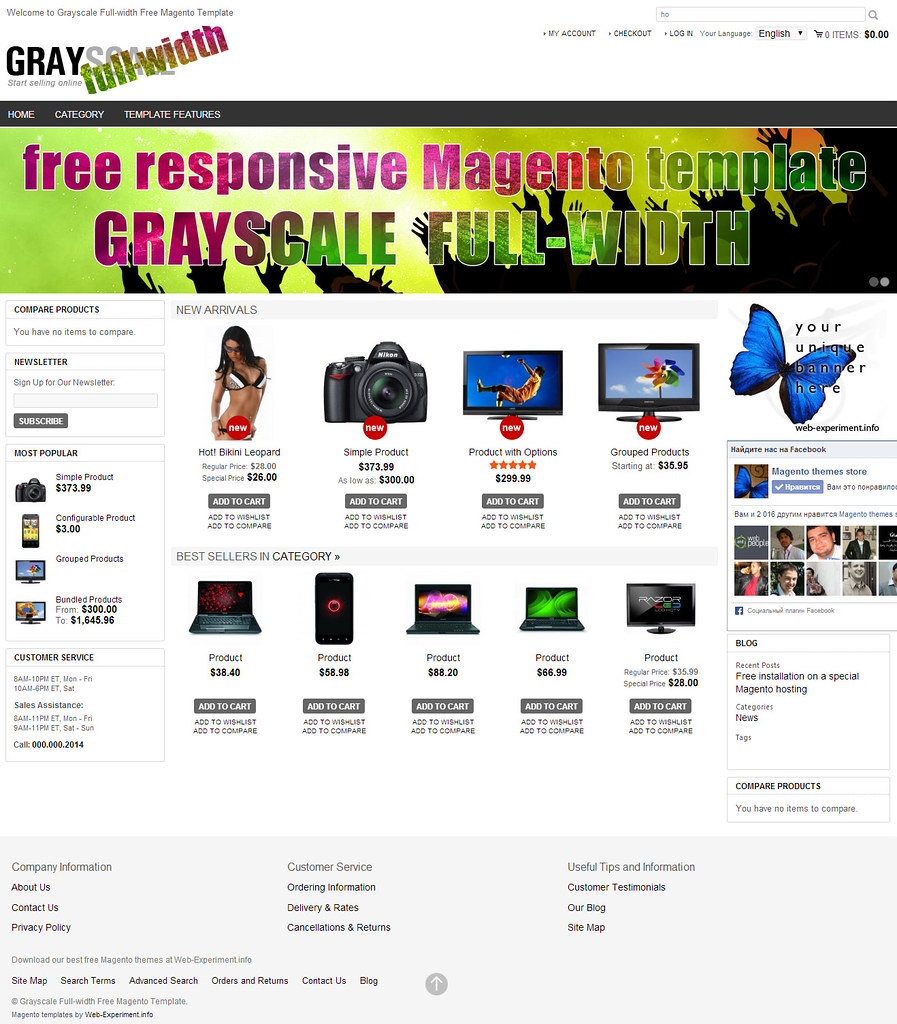New Grayscale Full Width Free Responsive Magento Template Flickr