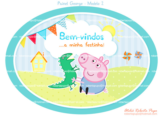 ... Painel Fundo de Mesa/ Placa Elipse_George Peppa Pig {modelo 02}   by  Ateliê