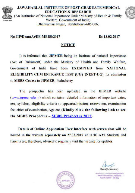 JIPMER Notification