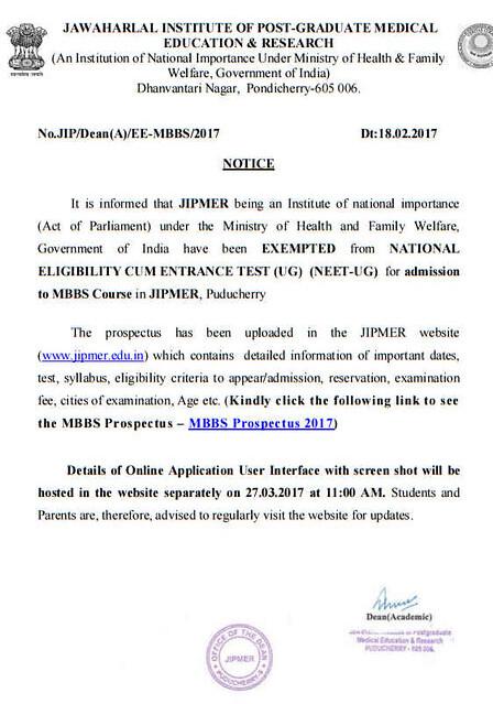 JIPMER Notification