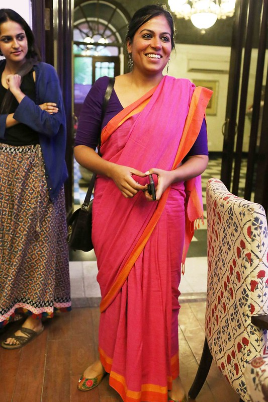 Netherfield Ball – Jaya Jaitley's Non-Journalistic Grey Sari  Royally Snubs the Saris of Journalists Supriya Nair and Sonal Shah at The Caravan Magazine's Book Launch, Bikaner House