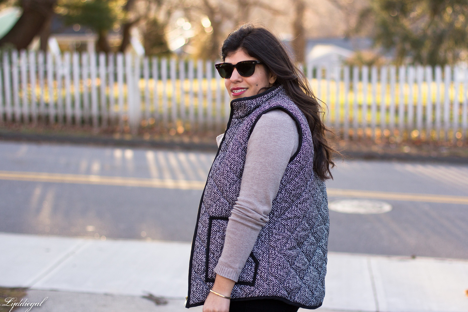 cowl neck sweater, herringbone vest, black jeans, matine scalloped tote-3.jpg