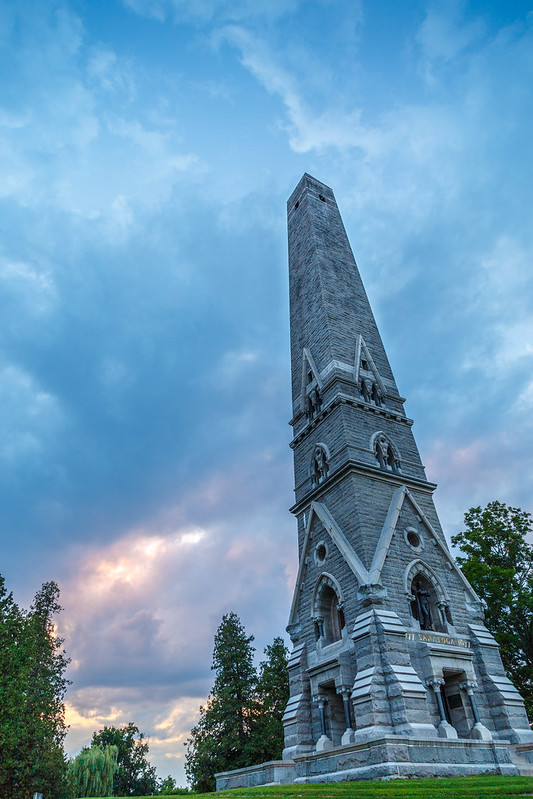 Saratoga Monument at Sunset