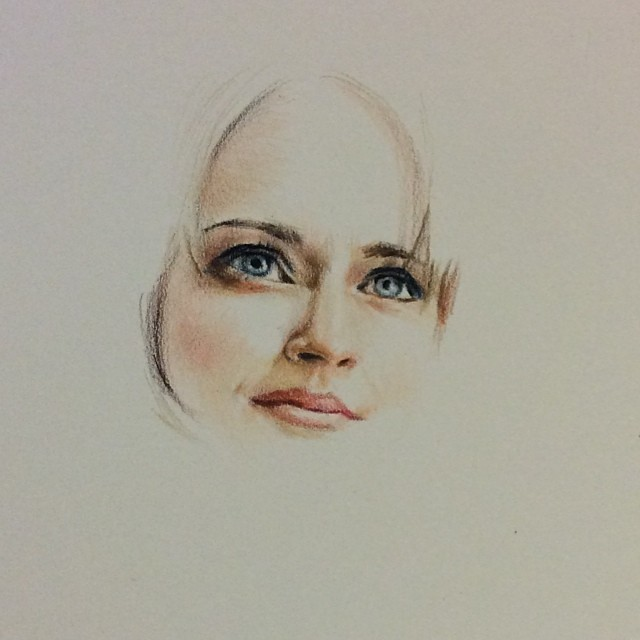 Chaseroflight sketch for the night color pencil drawing of actress alexis bledel chaseroflight