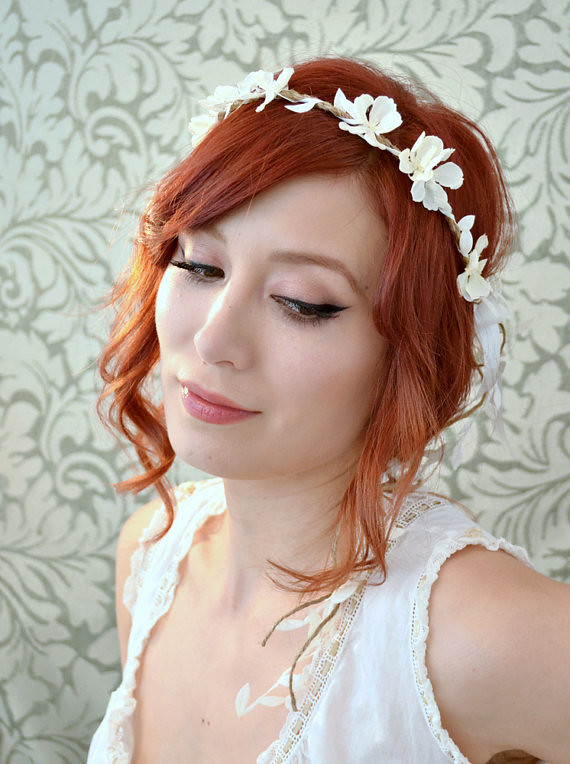 Boho floral headpiece white flower crown wedding headban flickr boho floral headpiece white flower crown wedding headband woodland bridal hair accessories mightylinksfo