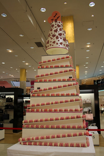 Valentine's Day macaron tower