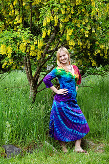 Rainbow Wave Twist Top and Purple Cenote Skirt | by tiedupanddyed