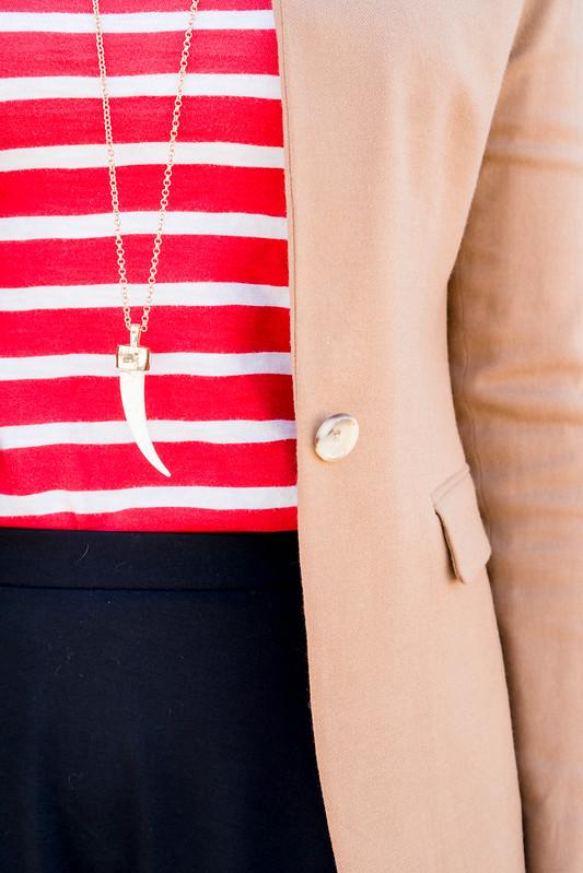 tan regent blazer J.Crew + red white stripe Old Navy tee + black flare skirt + merona black target heels; spring work outfit | Style On Target blog