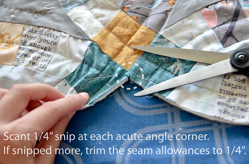 "2. Snip scant 1/4"" inside every corner - if you snip more than that, trim the seam allowances back down to 1/4"""