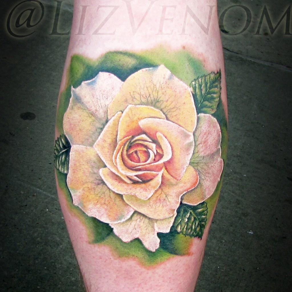 A white / yellow rose tattoo - Liz venom | liz.venom | Flickr
