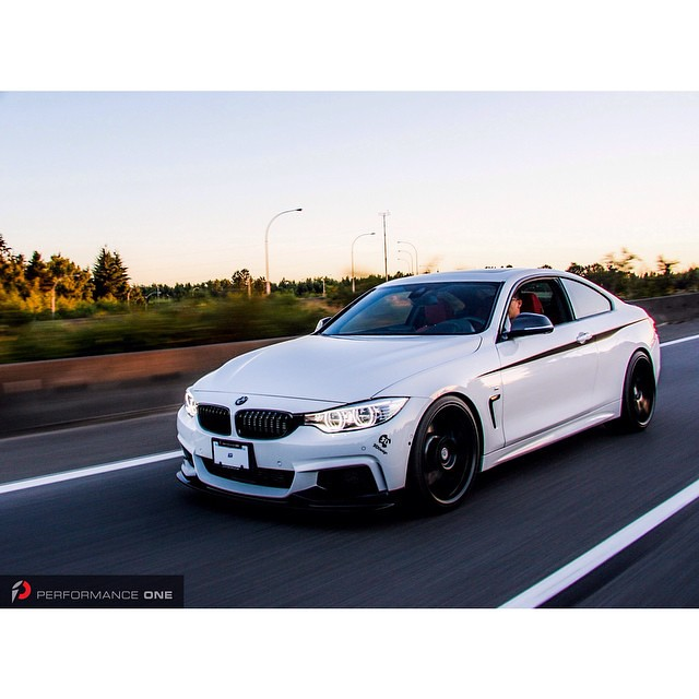 Rolling shot of our project F32 435xi. BMW M Performance front lip, gloss black front grille set, IND painted front reflectors, HRE FlowForm wheels, H&R sport spring.  #BMW | #f32 | #435| #hre | #hrsprings | #bmwperformance | #bmwmperformance | #performan