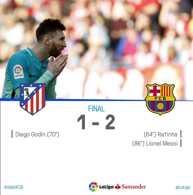 La Liga (Jornada 24): Atlético de Madrid 1 - FC Barcelona 2