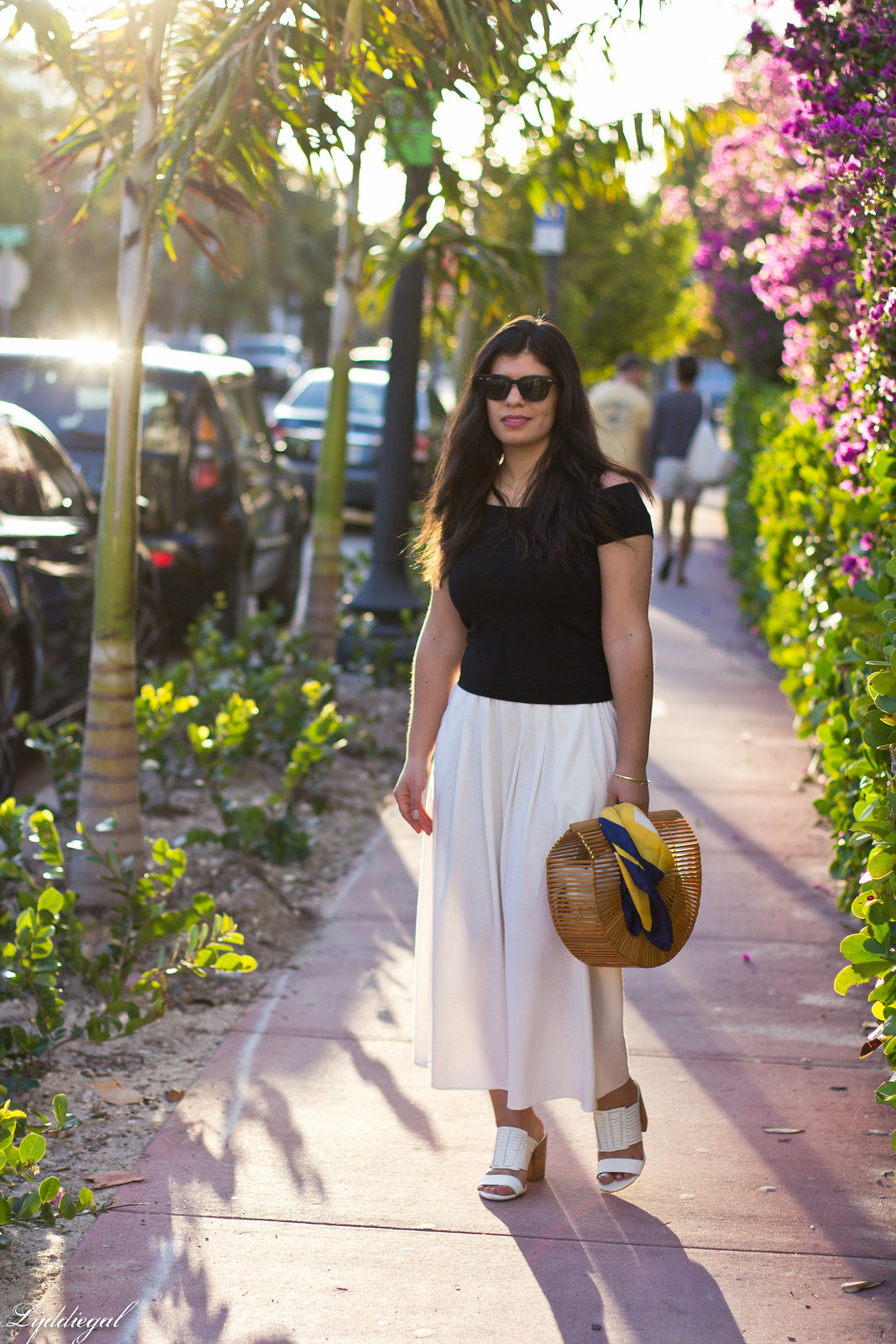 black off the shoulder tee, culottes, mules, bamboo handbag.jpg